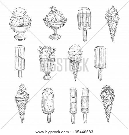 Ice cream sketch vector icons. Isolated set of frozen desserts, fruit or berry soft ice cream scoops in wafer cones, chocolate glaze sundae or berry sorbet in candy or caramel fondant and wafer cookie