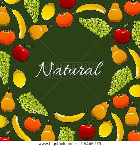 Fruits poster of apple or pear, exotic banana and tropical lemon or orange citrus and tangerine, fresh grape and peach or apricot. Farm natural organic harvest for fruit store design