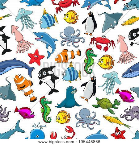 Cartoon sea underwater seamless pattern of seal and penguin, exotic clown fish and flounder, dolphin whale and shark, starfish and seahorse mollusk. Vector stingray, turtle and jellyfish or octopus