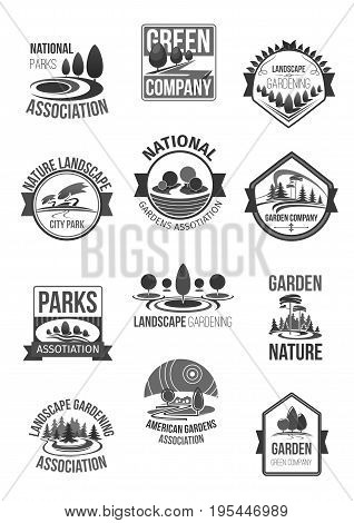 Parks and garden landscape or green gardening national association or horticulture company icons set. Vector symbols of nature and forest greenery, eco parklands and woodlands, green trees on squares