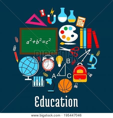 Education round symbol created of school supplies with pencil, ruler, book, globe and pen, brush, calculator, blackboard and scissors, microscope, school bag, ball, lamp, alarm clock icons