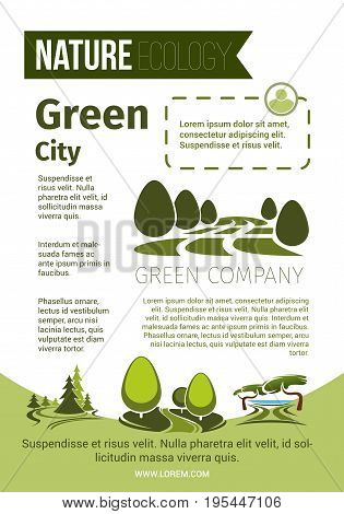 Nature poster for green ecology or city horticulture company. Vector design of eco environment and park or garden trees in parkland or woodland plants and forest greenery for eco-friendly concept