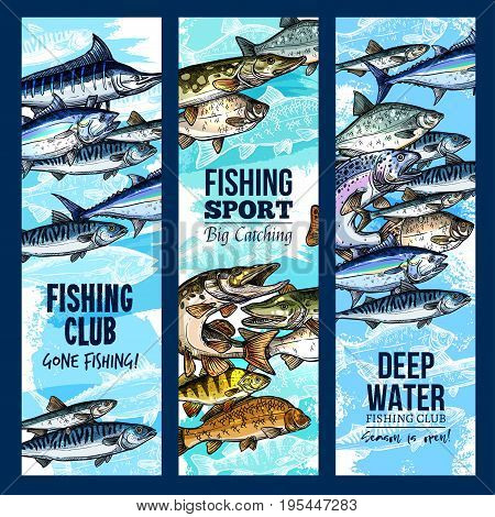 Fishing club banners set for fisher sport or trip. Vector design of big fish catch salmon, tuna or marlin and carp or mackerel with fisherman tackle of fishing rod, flounder or trout and crucian