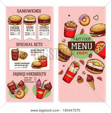Fast food restaurant menu vector template design of meals and snacks or combo sets of cheeseburgers, hamburgers and sandwich, pizza, hot dogs and ice cream desserts or french fries and grilled snacks