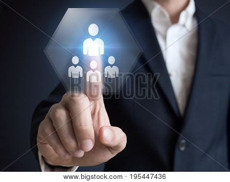 Human resources concept with manager in office touching white board computer interface about skills, training and performance