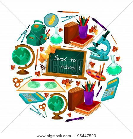 Back to School poster of education supplies and study stationery and books. Vector microscope, notepad and pen or pencil in school backpack, globe map and beaker or scissors and autumn season