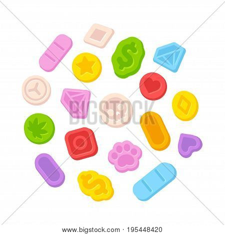Bright cartoon ecstasy MDMA pills isolated on white background. Illegal recreational drugs vector illustration.