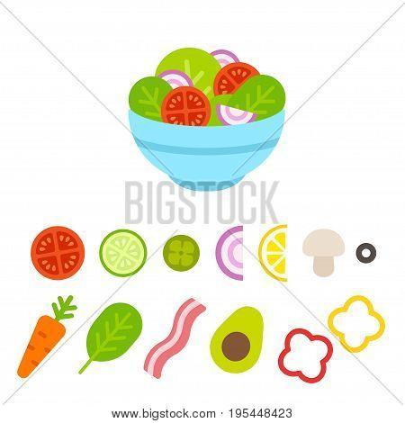 Salad bowl constructor cartoon vegetable set. Flat design food icons vector illustration.