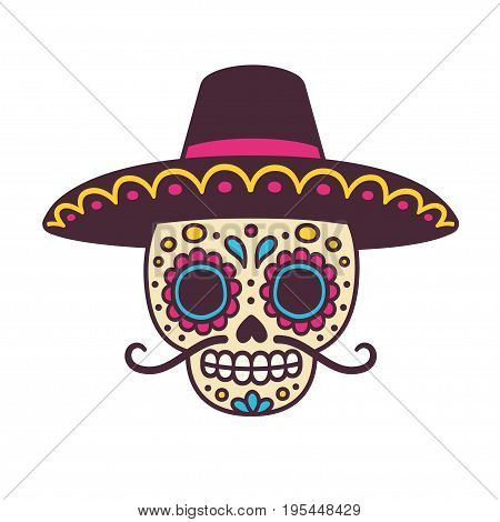 Cartoon Mexican sugar skull vector illustration for Dia de los Muertos (Day of the Dead). Cute male skull with mustache and sombrero hat.
