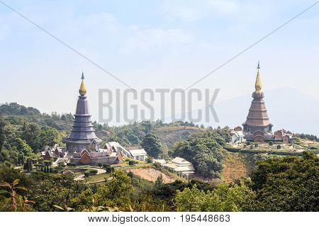 The Great Holy Relics Pagoda Nabhapolbhumisiri; Temple on Doi Inthanon National Park Thailand.