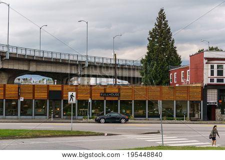 Vancouver Canada - June 13, 2017 Fullhouse store under granville bridge Vancouver British Columbia