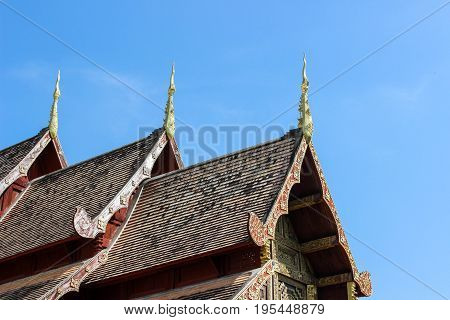 Church roof of Wat Phra Singh is a Buddhist temple in Chiang Mai Northern Thailand.