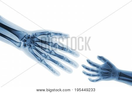 Adult help child . adult stretch out hand for grasp child hand . ( Connotation : Help orphan Medical aid )