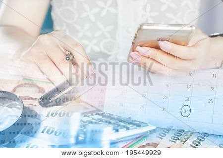double exposure business and technology background, businesswoman hand holding smart phone, money and calendar