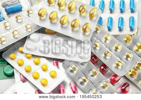 Health care concept. Blister packs with pills, closeup
