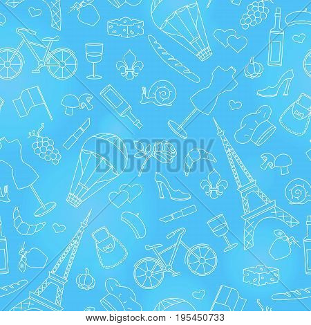 Seamless pattern on the theme of travel in the country of France simple contour icons light outline on a blue background