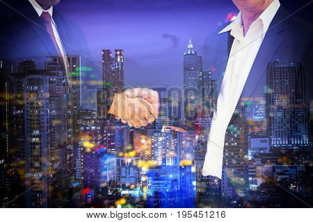 abstract double exposure commitment with night cityscape - can use to display or montage on product