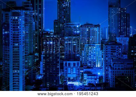 abstract blue nigjt cityscape filter - can use to display or montage on product