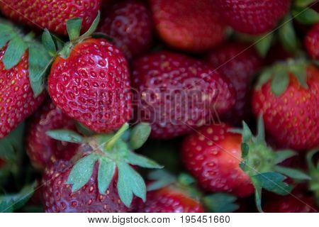 Close Up Of Small Strawberry On Pile