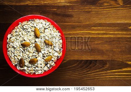 Muesli With Nuts Almonds. Muesli On A Wooden Table. Muesli Top View. Healthy Food .