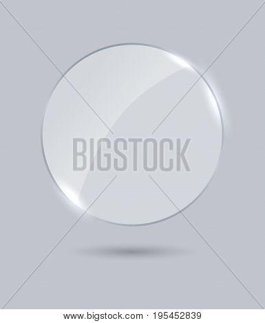 Transparent framework glass plate, banner isolatd on light gray background
