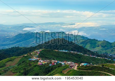 The small village on the hill in Thailand.