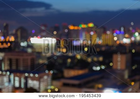 Abstract blurred light night view City blurred bokeh office building abstract background