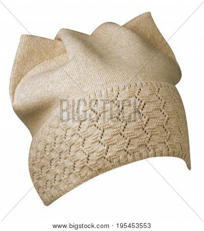 Women's Hat . Knitted Hat Isolated On White Background.beige Hat