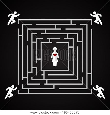 Woman labyrinth - Who will be the winner for the woman's heart - background template