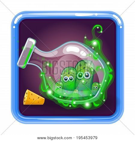 Application icon with monsters in bottle. Game design illustration