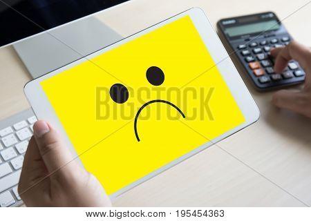 Depressive Emotions Concept,   Smiley Face Emoticon Printed Depression And Sad Pessimistic Face Sadn