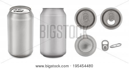 Realistic collection of aluminium can with copy space Isolated on white background and clipping path