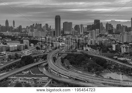 Black and white Aerial view Bangkok city central business downtown and highway overpass intersection cityscape downtown background