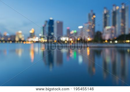 Beauty reflection offcie building light at twilight abstract background