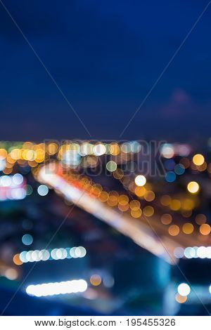 Night blurred light hightway curved city downtown abstract background