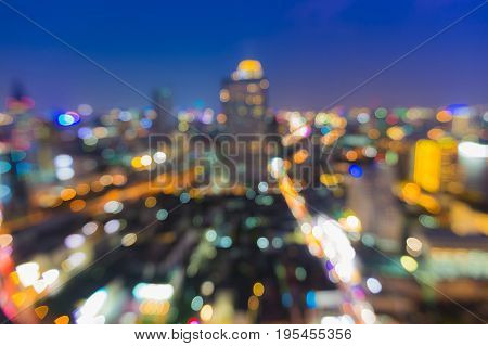 Night aerial view blurred light blue twilight skyline abstract background