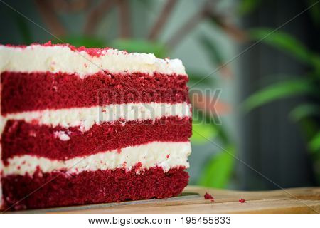 abstract scene of red velvet cake on the highlight shot - can use to display or montage on product