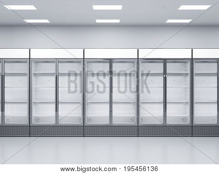 3d rendering empty commercial fridges in store