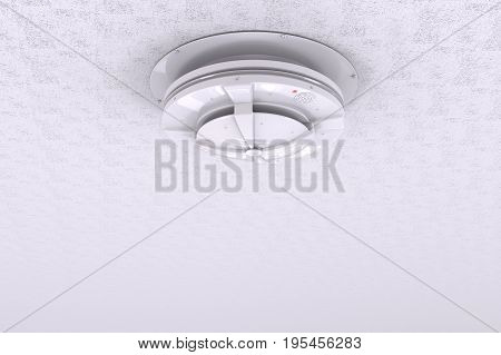 3d rendering white smoke detector on ceiling