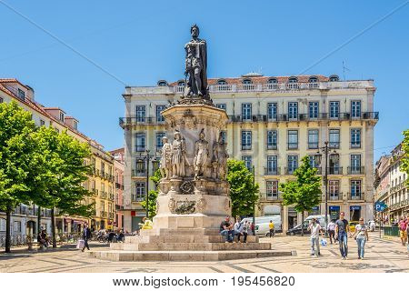 LISBON,PORTUGAL - MAY 19,2017 - View at the monument and place of Luis de Camoes in Lisbon. Lisbon is the capital of Portugal.