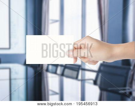 Hand Holding Blank Namecard