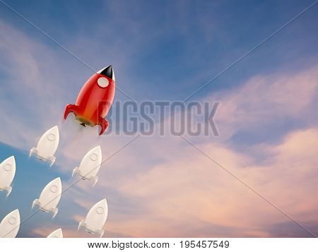 leadership concept with 3d rendering red rocket and squadron