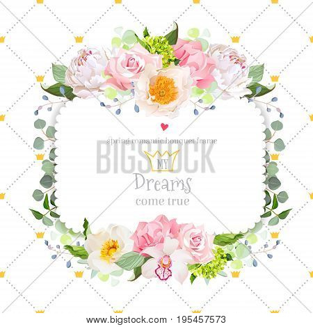 Stylish floral square vector design frame with wild rose, carnation, hydrangea, peony, orchid, green eucalyptus. Simple backdrop with diagonal lines and princess crowns. All elements are editable