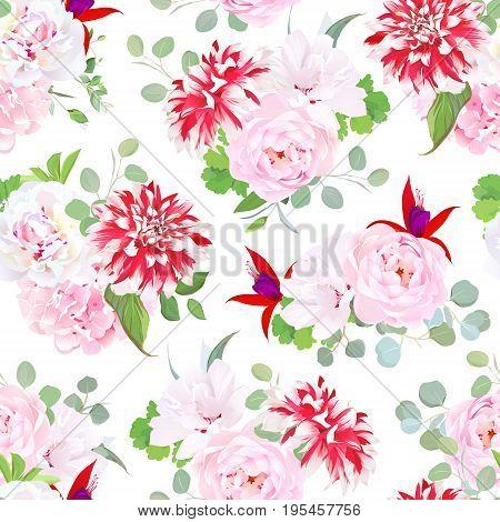 Garden posh motley dahlia, pink wild rose, hydrangea, red fuchsia, white layered hibiscus, green plants seamless vector pattern. Summer floral design print. Bouquets of beautiful flowers.