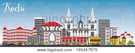Kochi Skyline with Color Buildings and Blue Sky. Business Travel and Tourism Concept with Historic Architecture. Image for Presentation Banner Placard and Web Site.