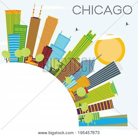 Chicago Skyline with Color Buildings and Copy Space. Business Travel and Tourism Concept with Modern Architecture. Image for Presentation Banner Placard and Web Site.