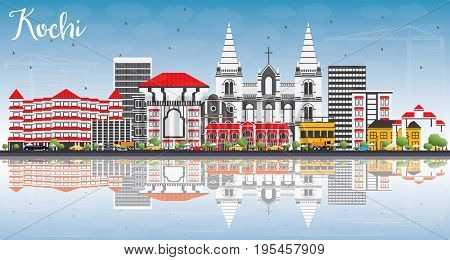 Kochi Skyline with Color Buildings, Blue Sky and Reflections. Business Travel and Tourism Concept with Historic Architecture. Image for Presentation Banner Placard and Web Site