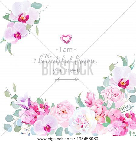 Purple toned angle vector design frame with peony, orchid, campanula, rose, hydrangea, eucalyptus. Pink, white, violet flowers. Delicate wedding template. All elements are isolated and editable
