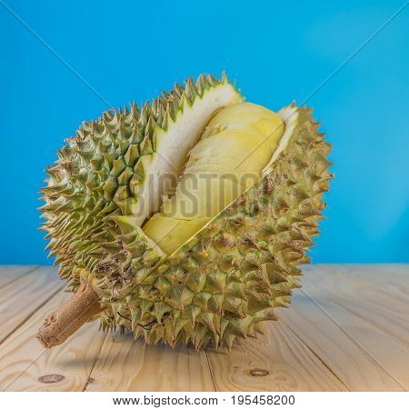 Ripe Durian On Wood Table.