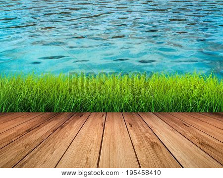 3d rendering waterside with wooden floor with green grass and water background